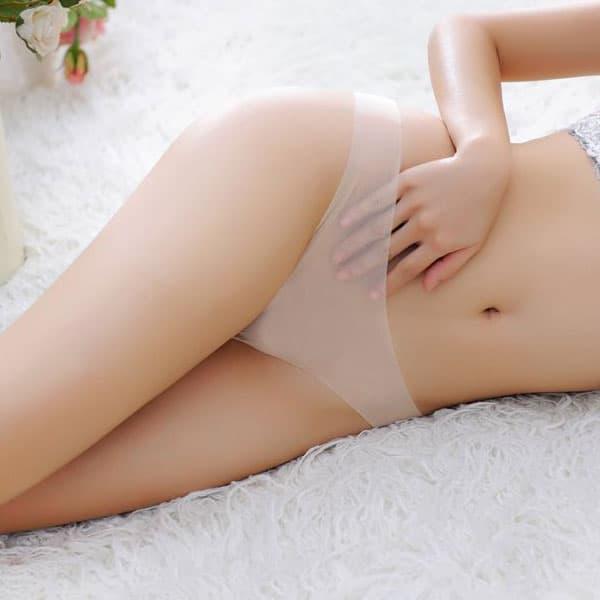 セクシー下着の通販商品:ストッキング素材・フルシースルーTバック・アプリコット・イメージ写真1