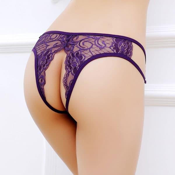 セクシー下着の通販商品:レースのワイドオープン・ハーフバックショーツ・紫・イメージ写真3