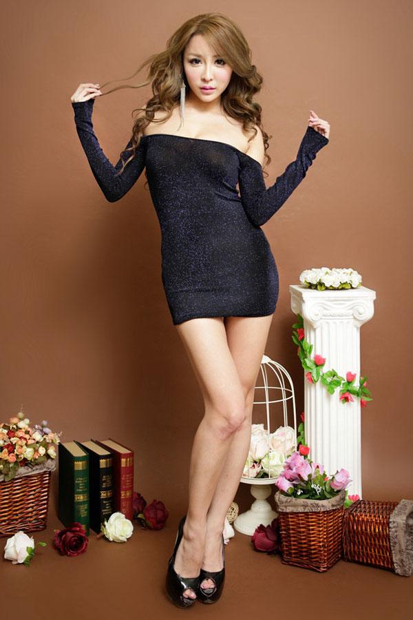 セクシー下着の通販商品:ラメ入り・オフショルダー・タイトドレス・ブルー・イメージ写真2