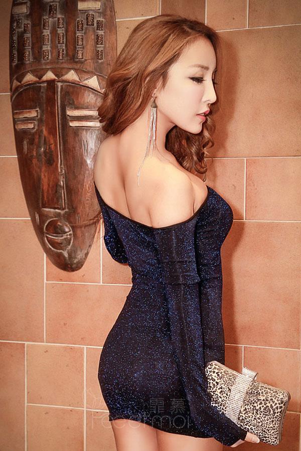 セクシー下着の通販商品:ラメ入り・オフショルダー・タイトドレス・ブルー・イメージ写真4