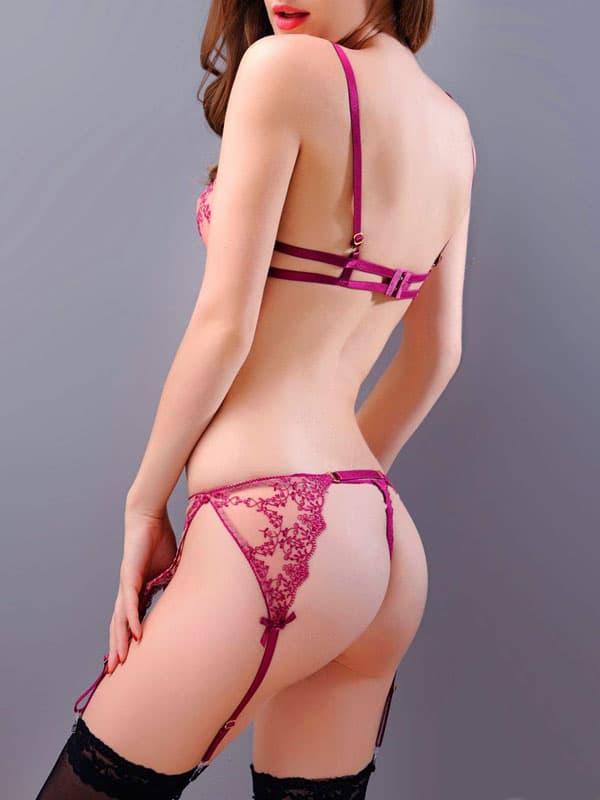 セクシー下着の通販商品:ワイヤー入り・シースルー・ガーター・ブラセット・赤紫・イメージ写真3