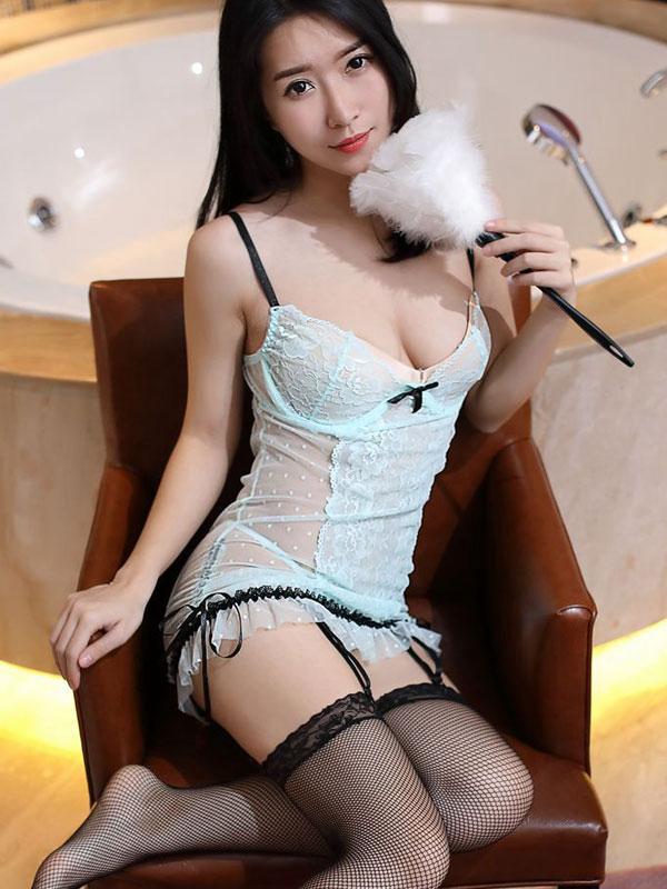 セクシー下着の通販商品:ワイヤー入り・シースルー・ガーターベビードール・イメージ写真1