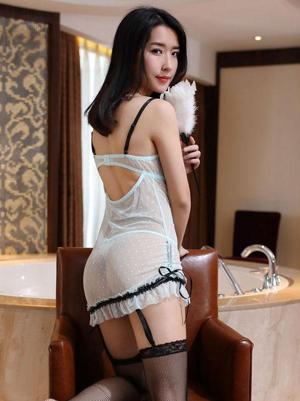 セクシー下着の通販商品:ワイヤー入り・シースルー・ガーターベビードール・イメージ写真3