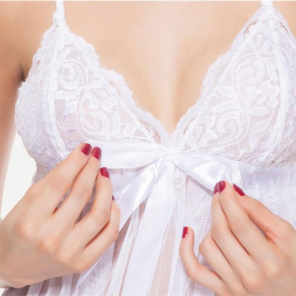 セクシー下着の通販商品:リボンアクセント・シースルー・ベビードール・白・イメージ写真1