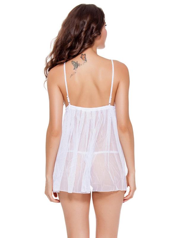 セクシー下着の通販商品:リボンアクセント・シースルー・ベビードール・白・イメージ写真4