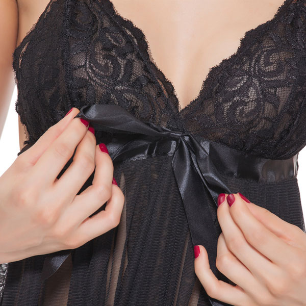 セクシー下着の通販商品:リボンアクセント・シースルー・ベビードール・黒・イメージ写真1