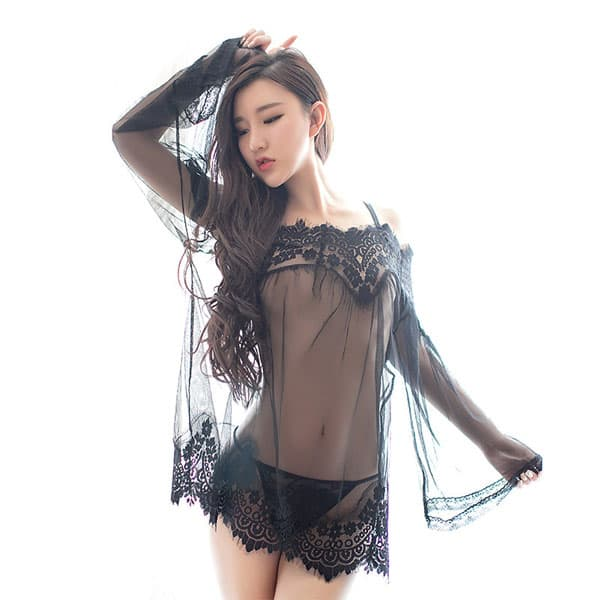 セクシー下着の通販商品:魅惑のシースルー・ネグリジェ・黒・イメージ写真3