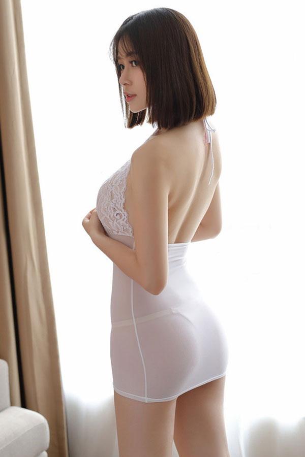 セクシー下着の通販商品:ホルターネック・タイトドレス・白・イメージ写真4