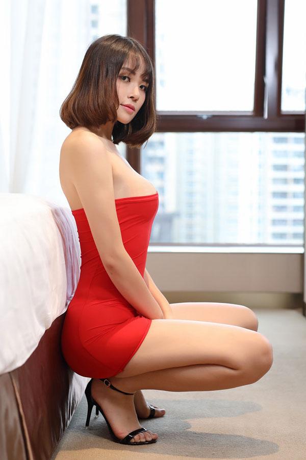 セクシー下着の通販商品:シースルータイト・チューブドレス・赤・イメージ写真4