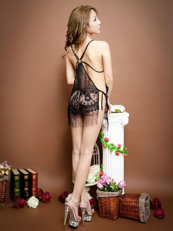 セクシー下着の通販商品:フリンジ・サイド結びベビードール・イメージ写真4