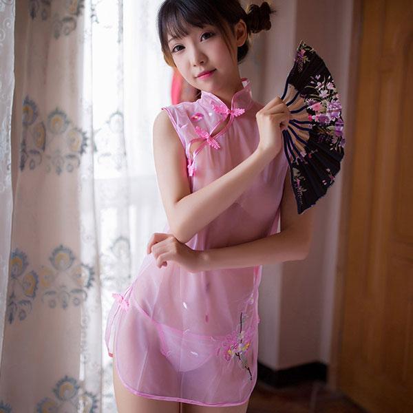 セクシー下着の通販商品:透け透け!シースルー・チャイナドレス・ピンク・イメージ写真A