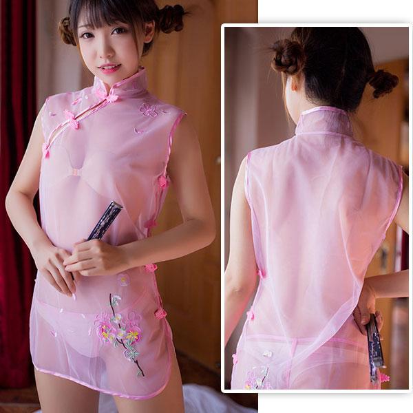 セクシー下着の通販商品:透け透け!シースルー・チャイナドレス・ピンク・イメージ写真