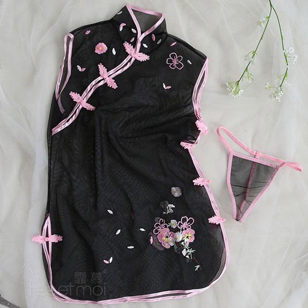 セクシー下着の通販商品:透け透け!シースルー・チャイナドレス・黒・イメージ写真3