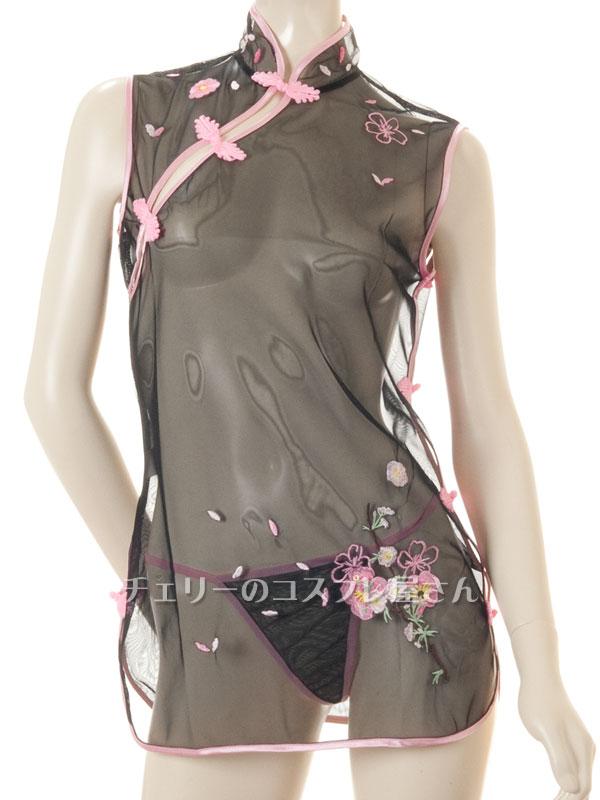 セクシー下着の通販商品:透け透け!シースルー・チャイナドレス・黒・イメージ写真6
