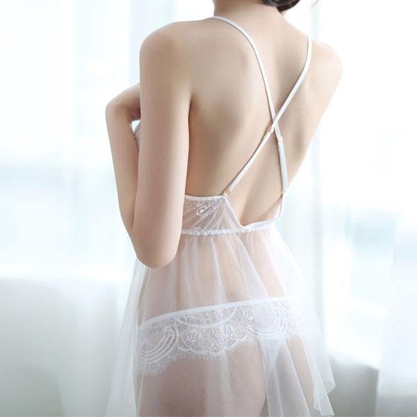 セクシー下着の通販商品:クロスバック・オーガンジー・ベビードール・白・イメージ写真2