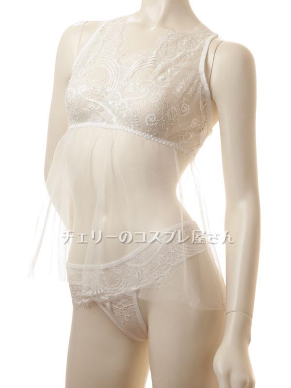 セクシー下着の通販商品:クロスバック・オーガンジー・ベビードール・白・イメージ写真6