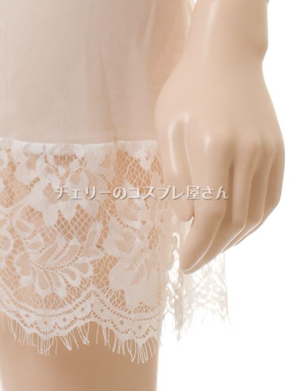 セクシー下着の通販商品:背中で結ぶ・するりと脱げるベビードール・白・イメージ写真10