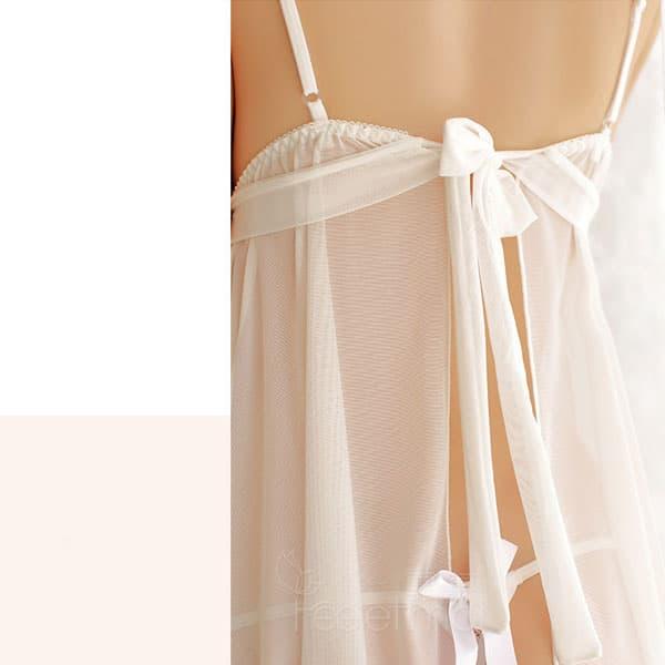 セクシー下着の通販商品:背中で結ぶ・するりと脱げるベビードール・白・イメージ写真4