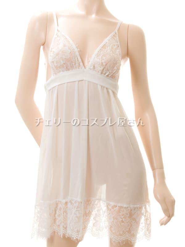 セクシー下着の通販商品:背中で結ぶ・するりと脱げるベビードール・白・イメージ写真5
