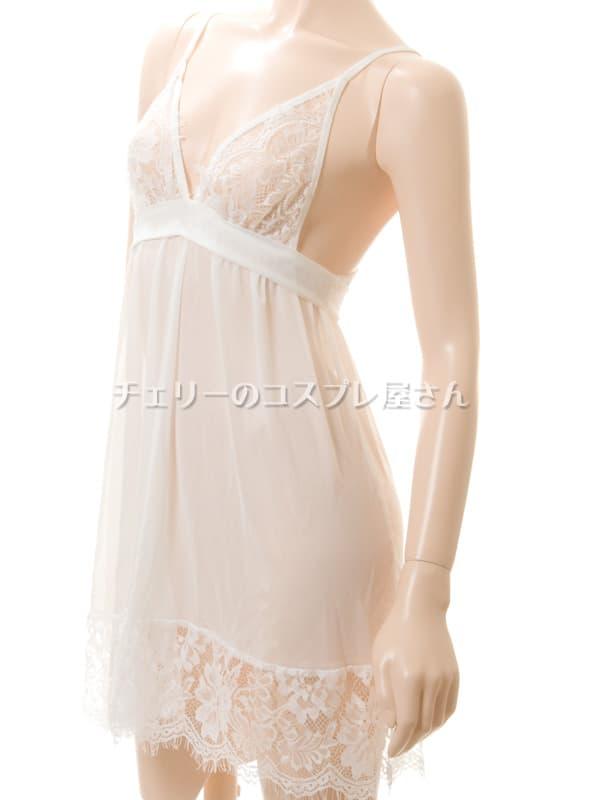 セクシー下着の通販商品:背中で結ぶ・するりと脱げるベビードール・白・イメージ写真8