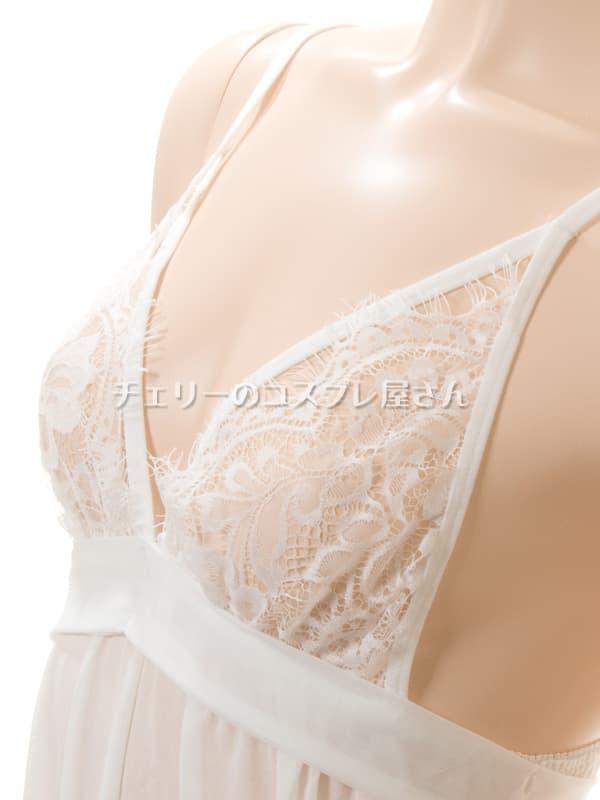 セクシー下着の通販商品:背中で結ぶ・するりと脱げるベビードール・白・イメージ写真9
