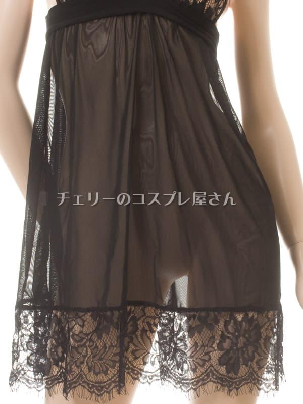 セクシー下着の通販商品:背中で結ぶ・するりと脱げるベビードール・黒・イメージ写真6