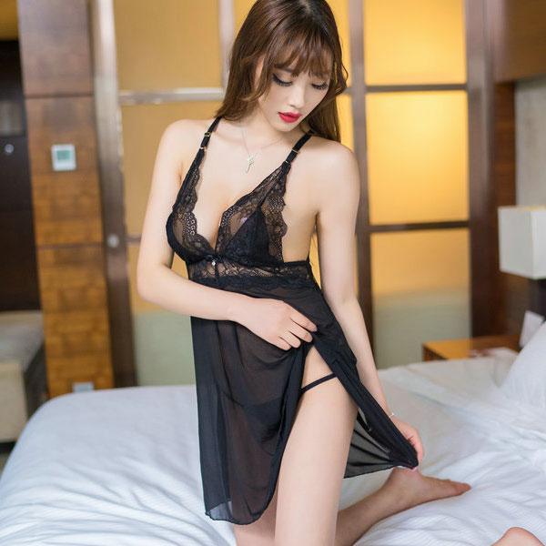 セクシー下着の通販商品:キラリ輝く・魅惑のベビードール・黒・イメージ写真2