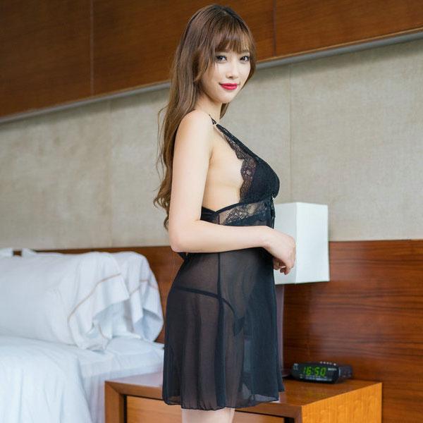 セクシー下着の通販商品:キラリ輝く・魅惑のベビードール・黒・イメージ写真3