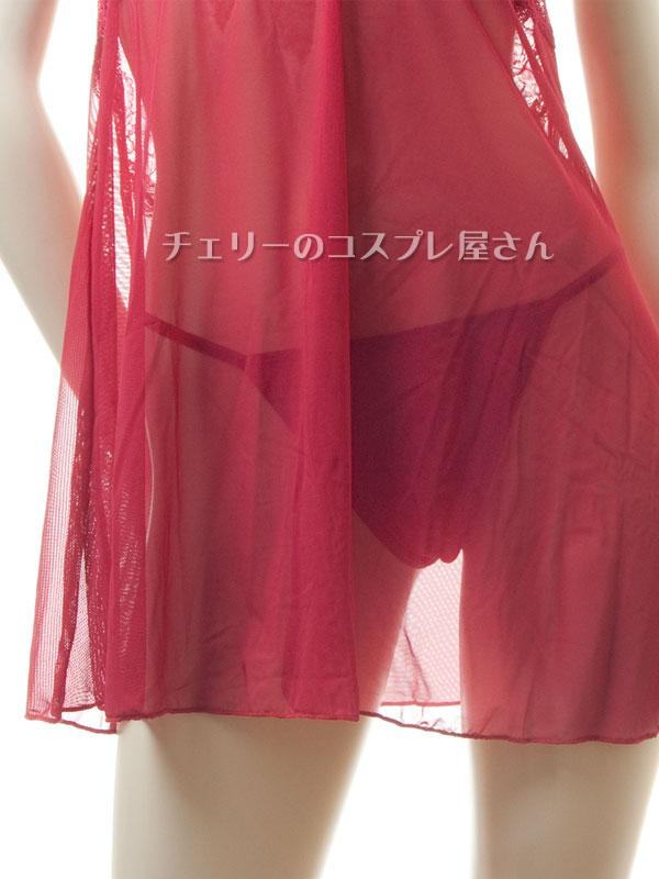 セクシー下着の通販商品:キラリ輝く・魅惑のベビードール・ワインレッド・イメージ写真6