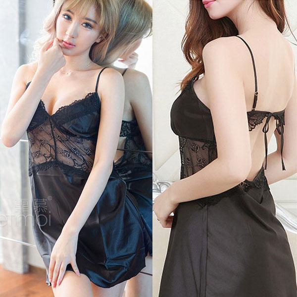 セクシー下着の通販商品:光沢サテン・ベビードール・黒・イメージ写真3