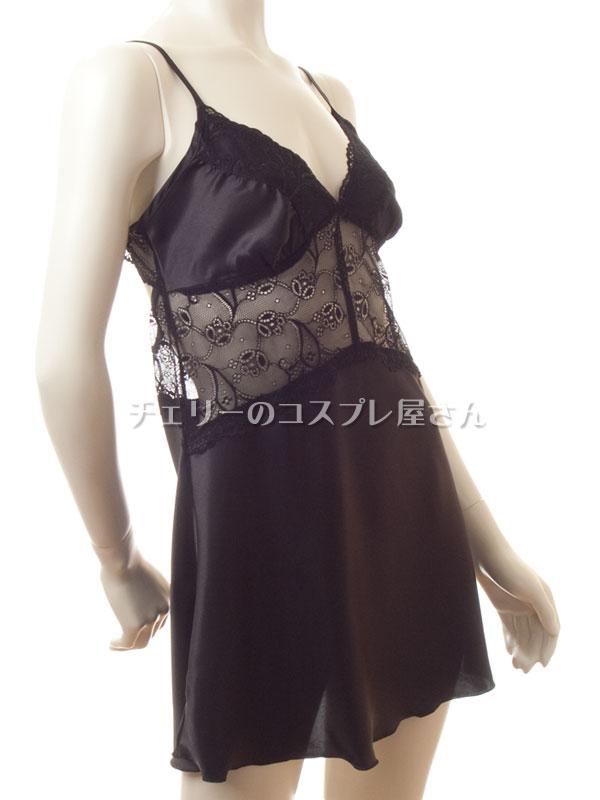 セクシー下着の通販商品:光沢サテン・ベビードール・黒・イメージ写真8