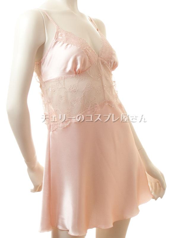 セクシー下着の通販商品:光沢サテン・ベビードール・シャンパンピンク・イメージ写真7