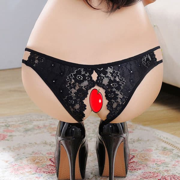 セクシー下着の通販商品:フルオープン・ハーフバック・ショーツ・黒・イメージ写真5
