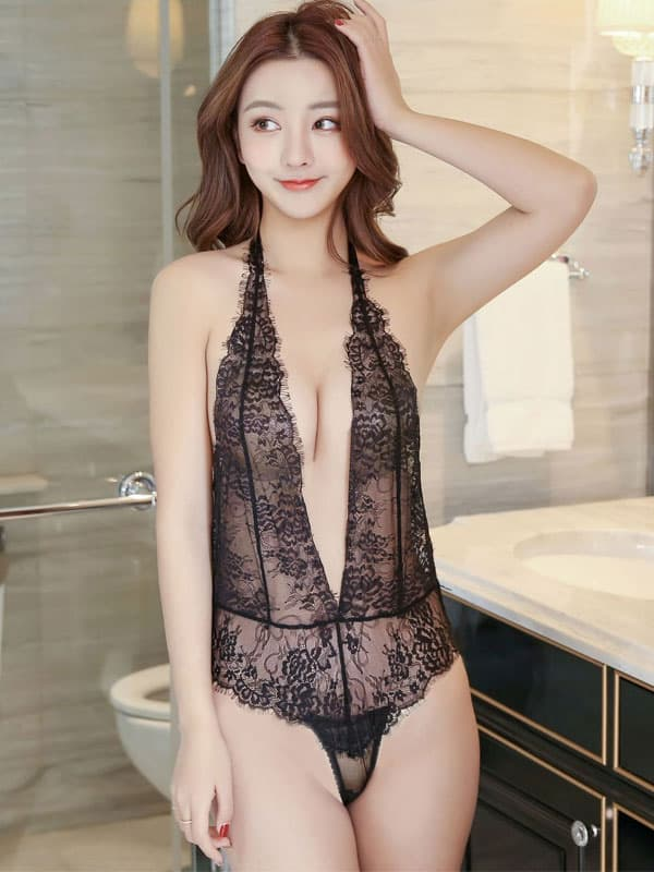 セクシー下着の通販商品:お尻がでちゃう!びっくりシースルー・テディ・黒・イメージ写真1