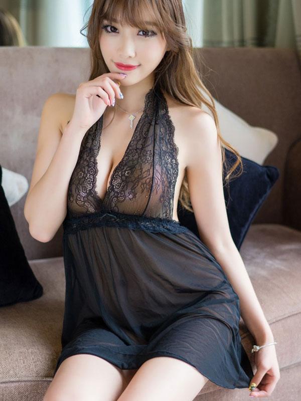 セクシー下着の通販商品:黒のホルターネック・ベビードール・イメージ写真1