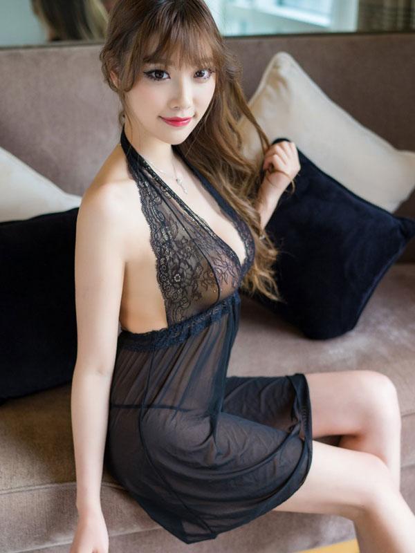 セクシー下着の通販商品:黒のホルターネック・ベビードール・イメージ写真2