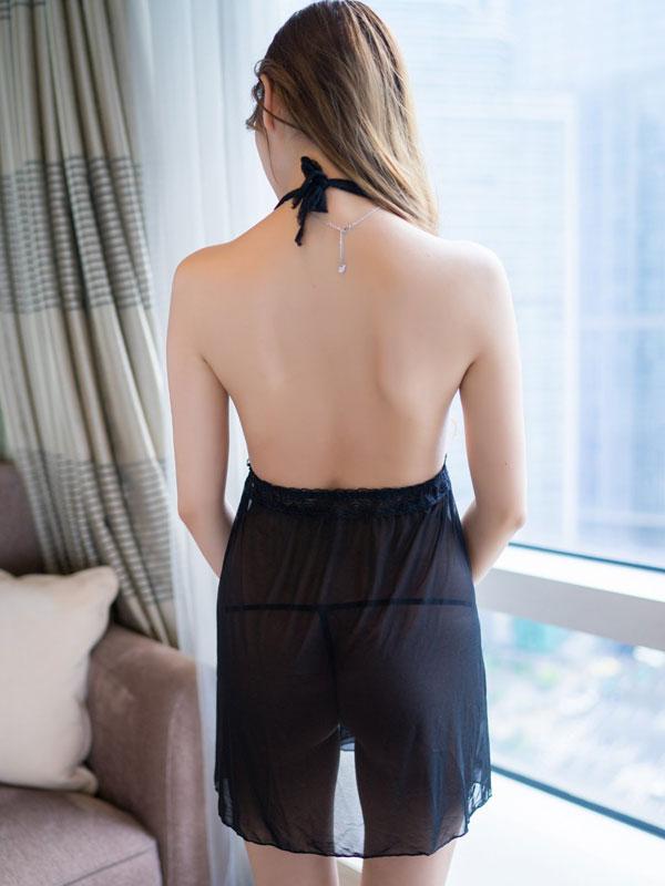 セクシー下着の通販商品:黒のホルターネック・ベビードール・イメージ写真3