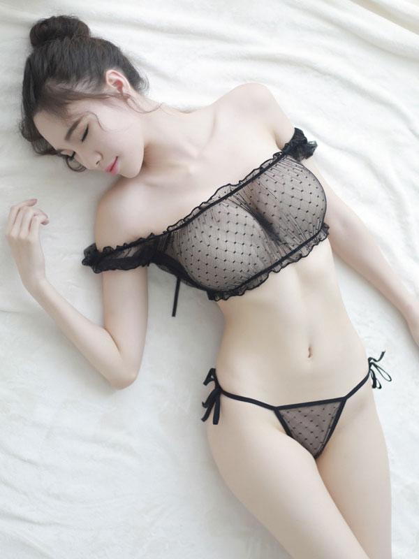 セクシー下着の通販商品:シースルー・ブラトップ&サイド結びハーフバックショーツ・黒・イメージ写真2