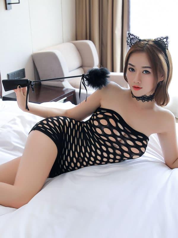 セクシー下着の通販商品:ラウンドメッシュ・チューブドレス・黒・イメージ写真1