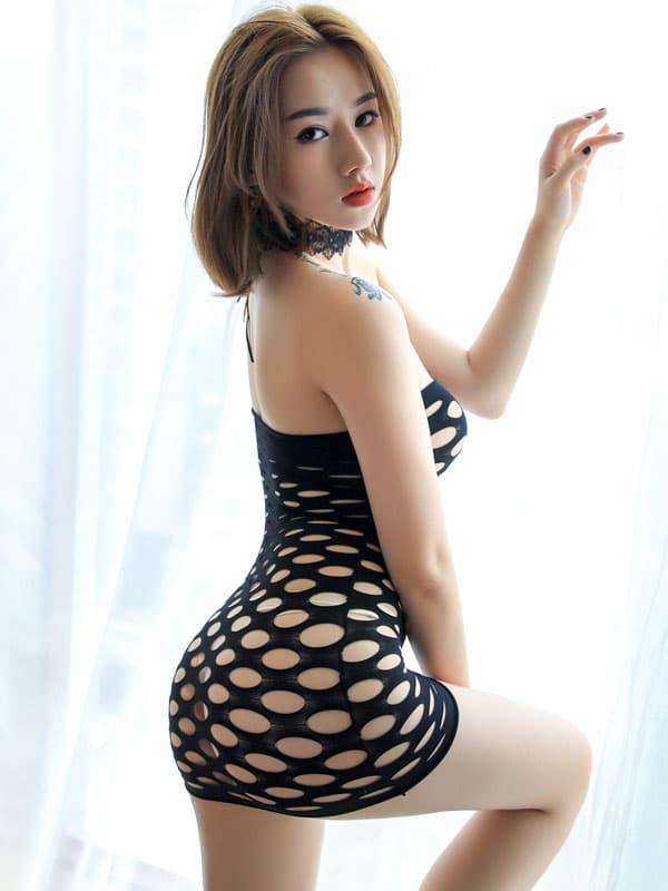 セクシー下着の通販商品:ラウンドメッシュ・チューブドレス・黒・イメージ写真2