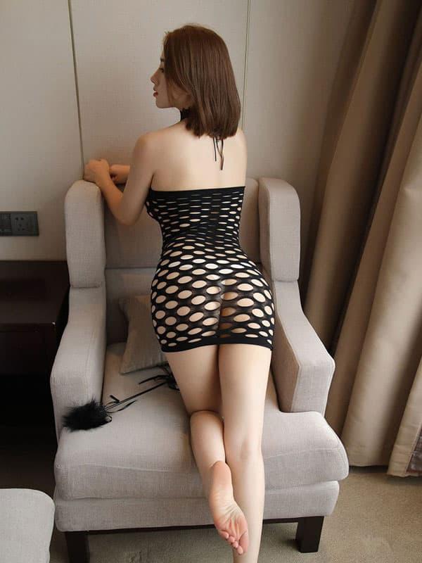 セクシー下着の通販商品:ラウンドメッシュ・チューブドレス・黒・イメージ写真3