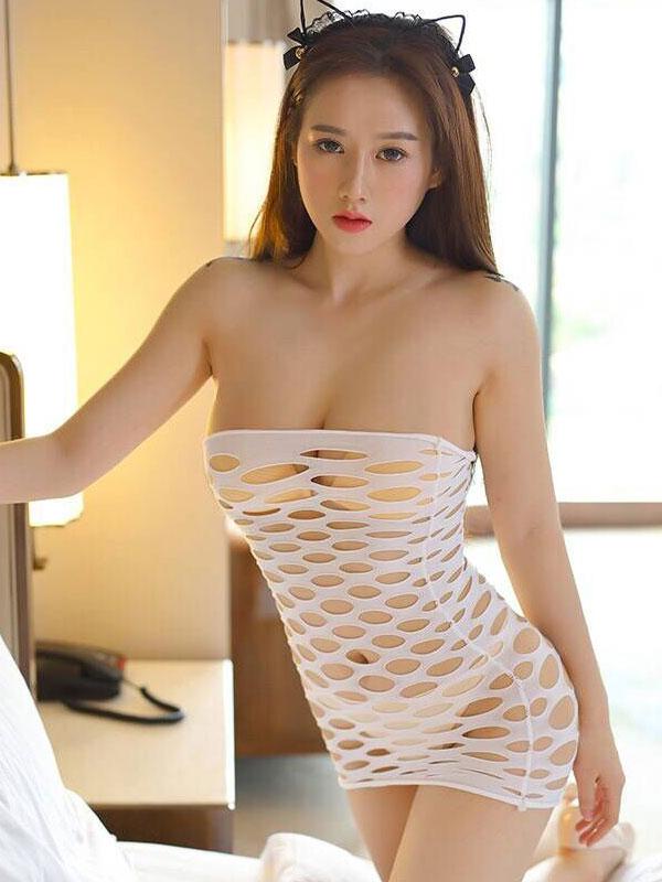 セクシー下着の通販商品:ラウンドメッシュ・チューブドレス・白・イメージ写真1