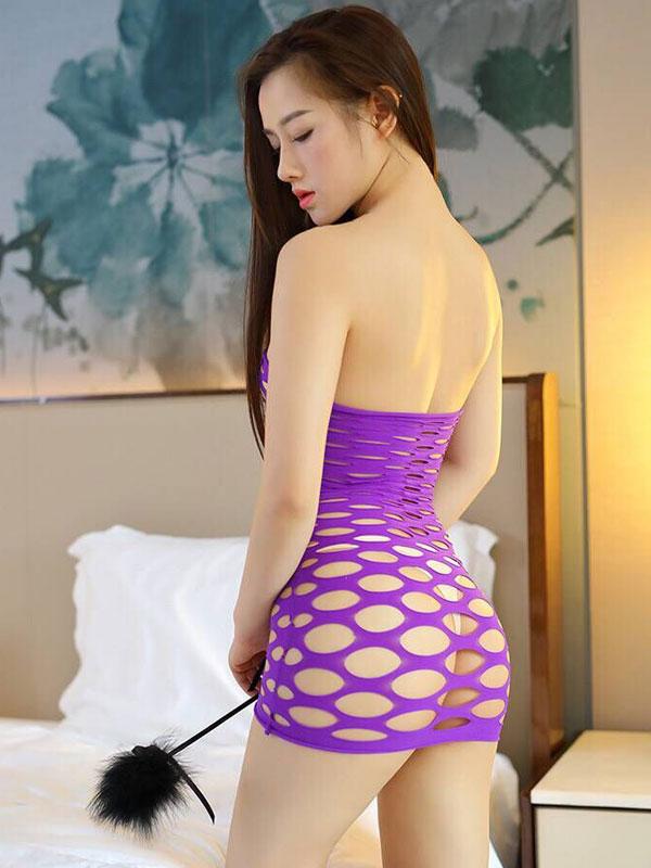 セクシー下着の通販商品:ラウンドメッシュ・チューブドレス・紫・イメージ写真3