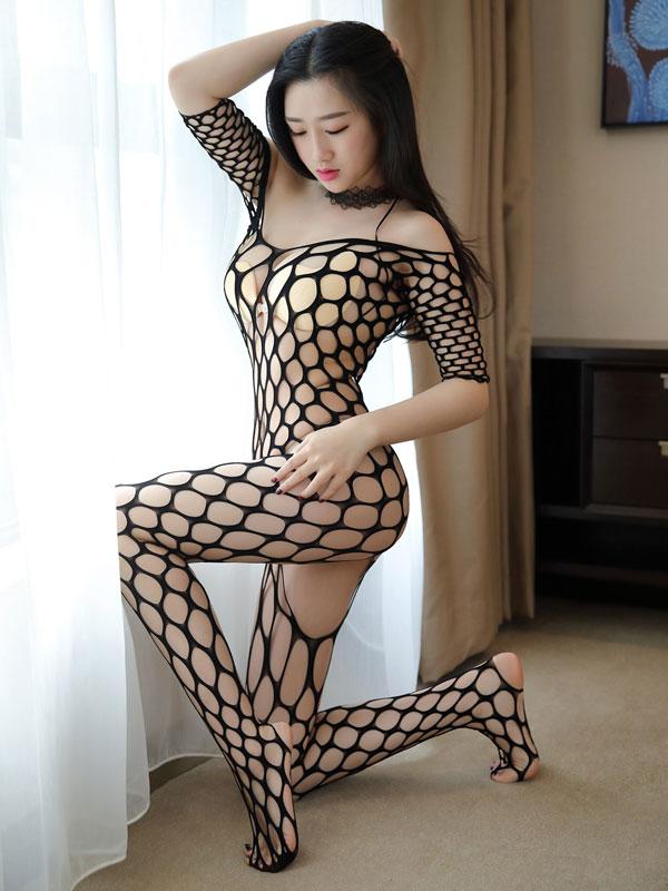 セクシー下着の通販商品:ラウンドメッシュ・ボディストッキング・イメージ写真1