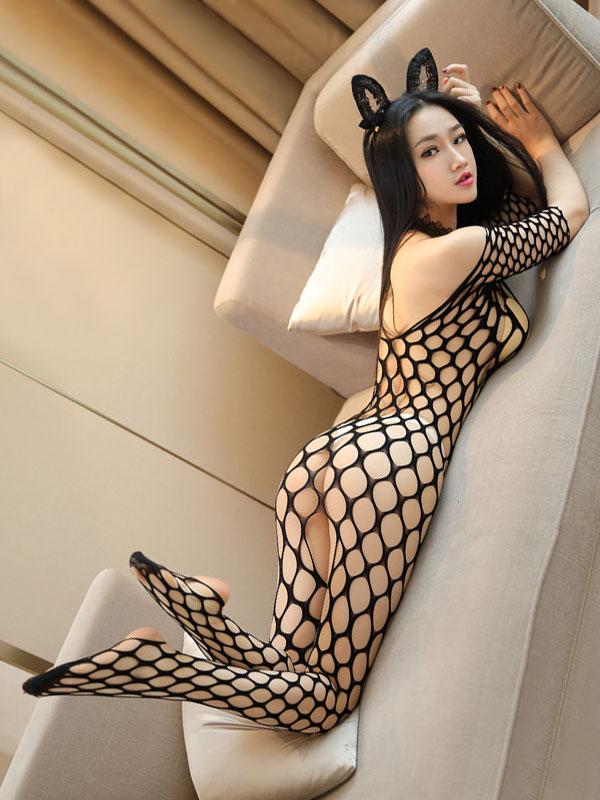 セクシー下着の通販商品:ラウンドメッシュ・ボディストッキング・イメージ写真4