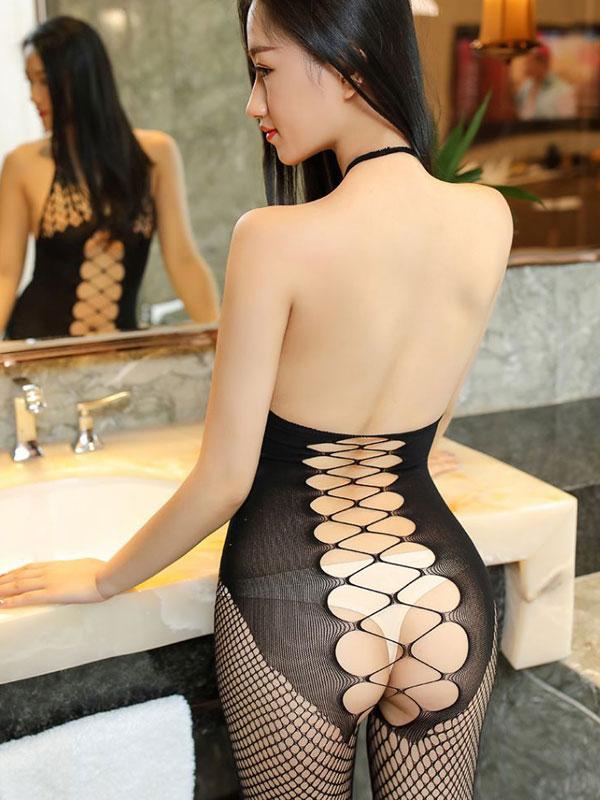 セクシー下着の通販商品:クロスメッシュ・ホルターネック・ボディストッキング・イメージ写真4