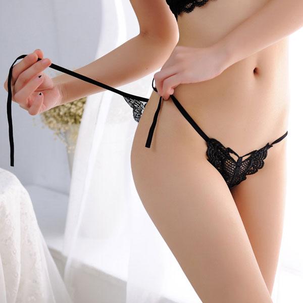 セクシー下着の通販商品:パピヨンレース・サイド結び・フルバックショーツ・黒・イメージ写真3