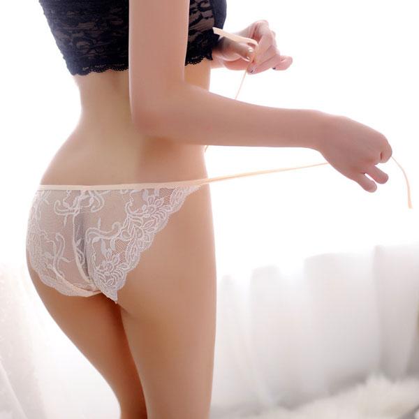 セクシー下着の通販商品:パピヨンレース・サイド結び・フルバックショーツ・アプリコット・イメージ写真5