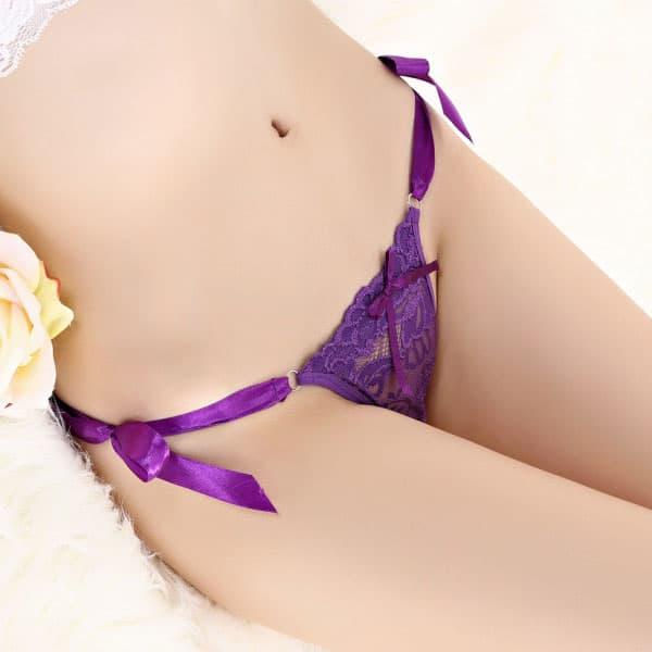 セクシー下着の通販商品:フロントレース・サイド結びTバック・紫・イメージ写真2