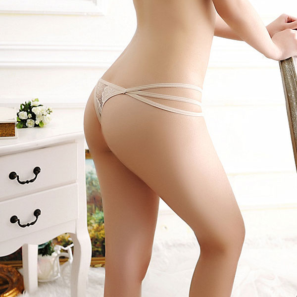 セクシー下着の通販商品:パピヨンレース・トリプルストリング・Tバック・ベージュ・イメージ写真4